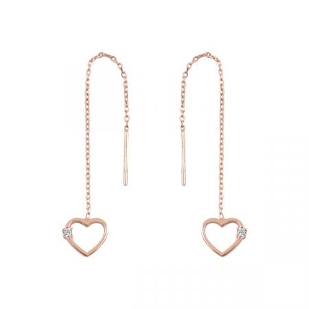 Cercei argint lungi cu inimioara si zirconii, placati cu aur roz