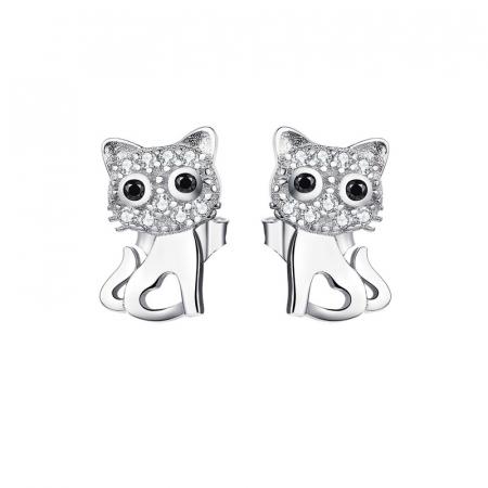 Cercei argint pisicute cu zirconii si inimioare