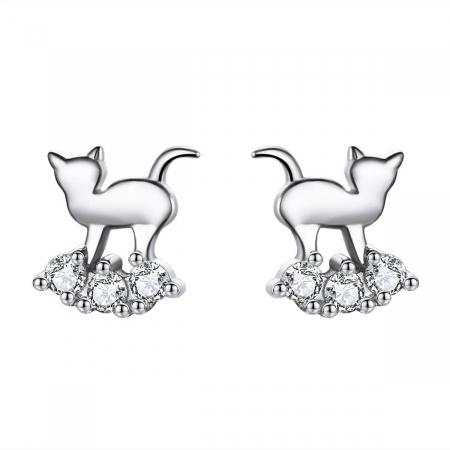 Cercei argint pisicute dragalase cu zirconii albe
