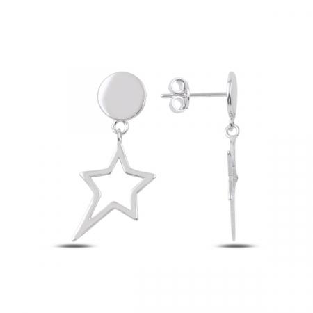 Cercei argint placat cu rodiu cu steluta - ETU0183
