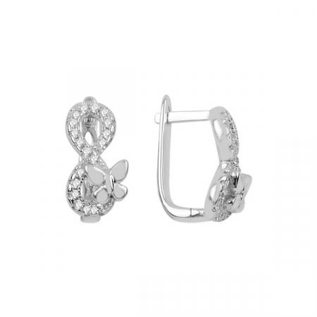 Cercei argint placati cu rodiu cu infinit si zirconii albe