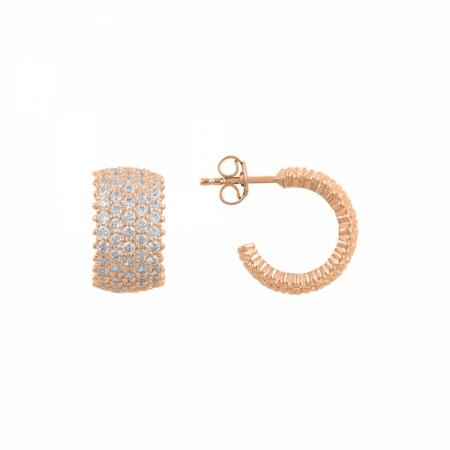 Cercei argint rotunzi Eternity cu 5 randuri de zirconii albe placati cu aur roz