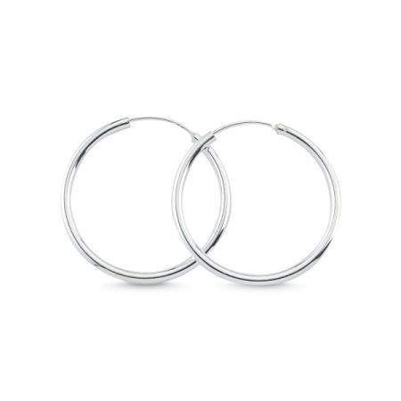Cercei argint simpli in forma de cerc cu diametru de 20 mm