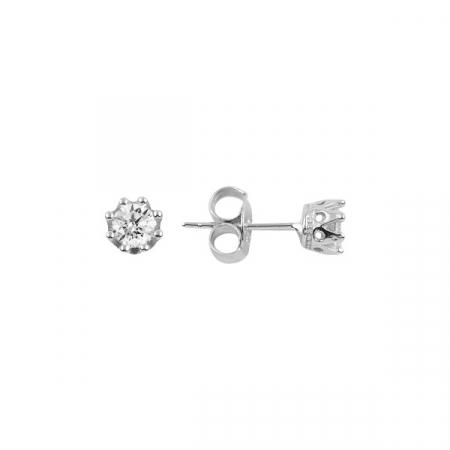 Cercei argint Solitaire coroana cu zirconii