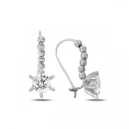 Cercei argint Solitaire cu zirconii albe placati cu rodiu - ETU0199