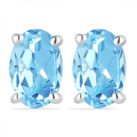Cercei argint Tereza, 925, cu topaz albastru elvetian - EVA0027
