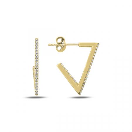 Cercei argint triunghi incomplet cu zirconii albe, placati cu aur - ETU0187