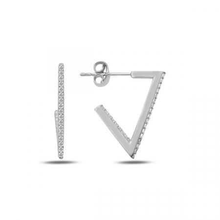 Cercei argint triunghi incomplet cu zirconii albe, placati cu rodiu - ETU0188