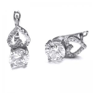Cercei cu inimioare din argint 925 rodiat si zirconii1