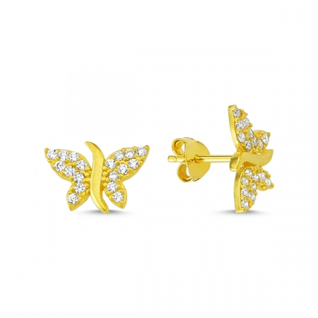 Cercei argint fluture, placati cu aur