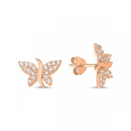 Cercei argint fluture, placati cu aur roz
