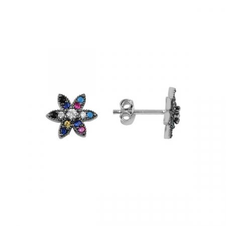 Cercei argint rodiati cu floare de cristale