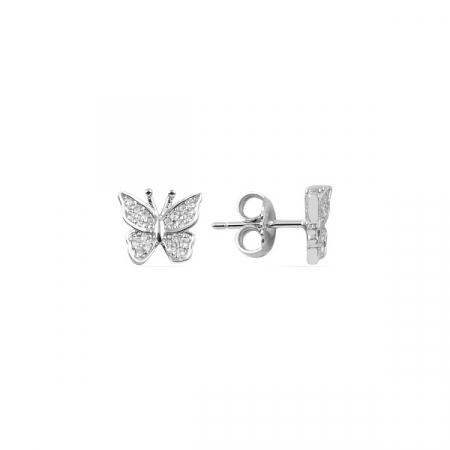 Cercei argint fluturas cu cristale
