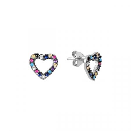Cercei din argint 925 inimoara din zirconii multicolore, placati cu rodiu, cu surub., Diametru: 9 mm