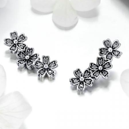 Cercei cu surub flori de cires cu cristale [1]