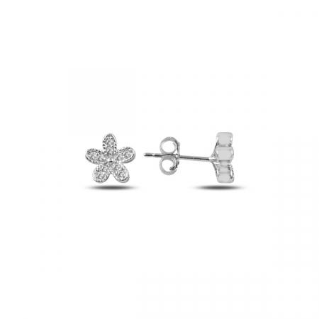 Cercei din argint cu inimioare placat cu rodiu - ETU0150