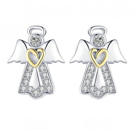 Cercei din Argint Ingeri Pazitoricu Inimioara Aurie si Zirconii
