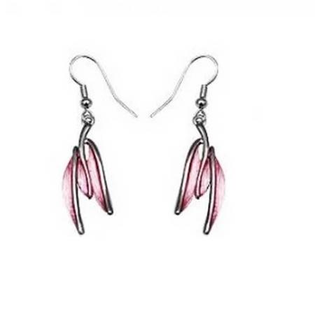Cercei eleganti cu frunze roz si metal rodiat