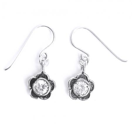 Cercei eleganti din argint 925 Israel cu floricele si zirconii - EPO0041