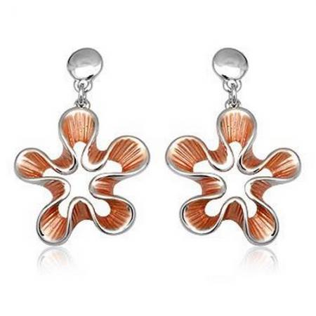 Cercei eleganti floare cu metal rodiat