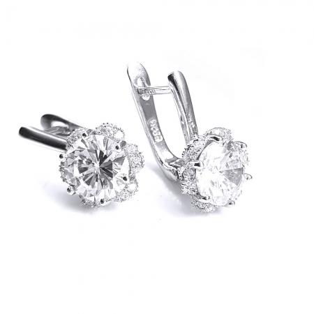 Cercei eleganti din argint 925 rodiat si zirconii CER0747 - Be Nature0