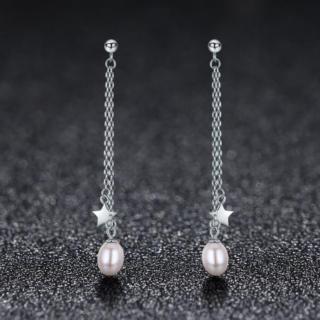 Cercei lungi din argint 925 cu perle fine, stelute si zirconii albe - Be Elegant EST00111