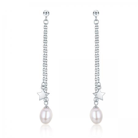 Cercei lungi din argint 925 cu perle fine, stelute si zirconii albe - Be Elegant EST0011