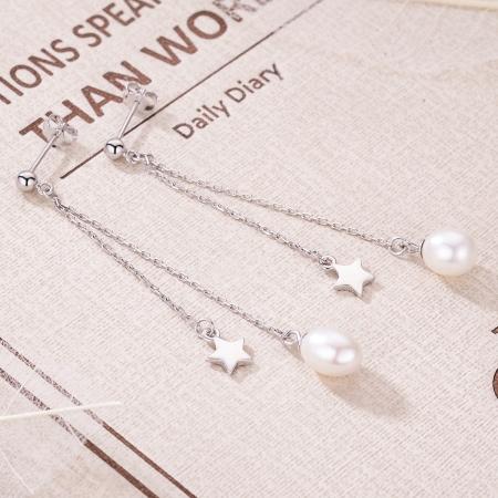 Cercei lungi din argint 925 cu perle fine, stelute si zirconii albe - Be Elegant EST00113
