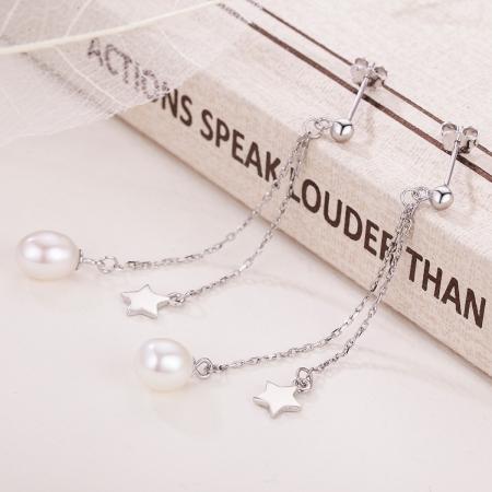 Cercei lungi din argint 925 cu perle fine, stelute si zirconii albe - Be Elegant EST00114