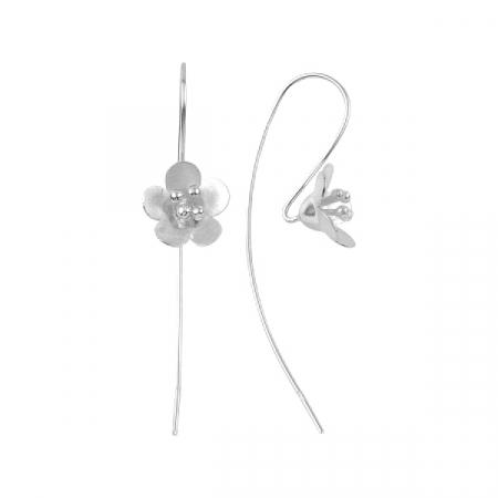 Cercei lungi din argint cu flori - ETU0201