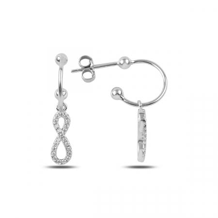 Cercei lungi din argint cu simbolul infinit si zirconii albe placat cu rodiu - ETU0149