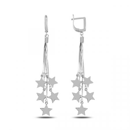 Cercei lungi din argint cu stelute  - ETU0148