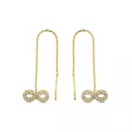 Cercei lungi din argint placat cu aur, cu simbolul infinit si zirconii albe  - ETU0103