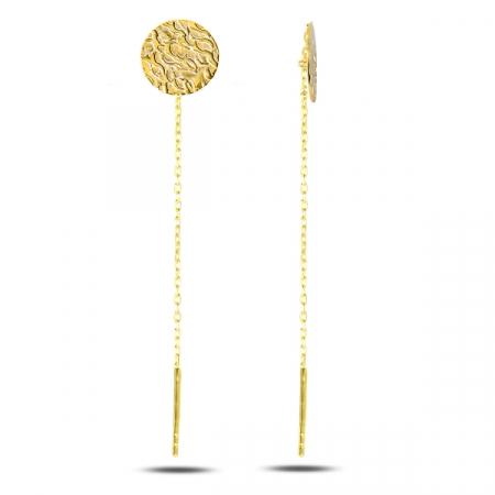Cercei lungi din argint placat cu aur galben, cu banuti - ETU0130