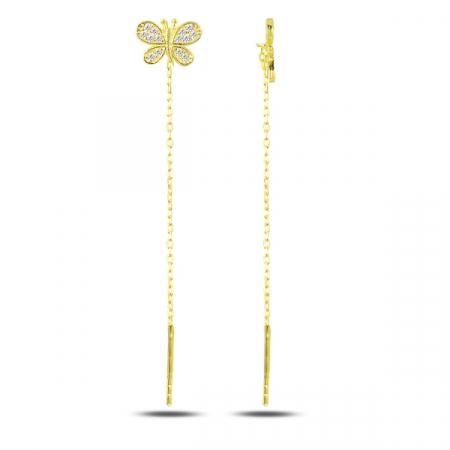 Cercei lungi din argint placat cu aur galben, cu fluturasi - ETU0133