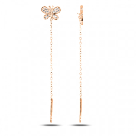 Cercei lungi din argint placat cu aur roz, cu fluturasi - ETU0132