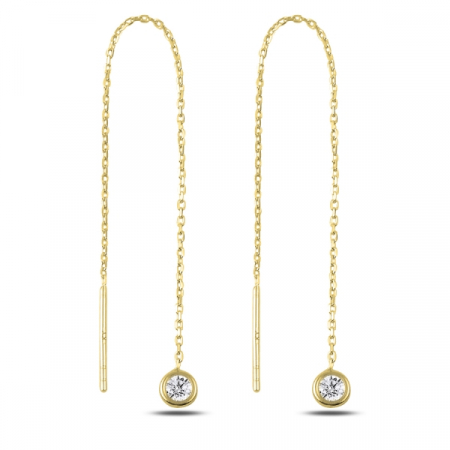 Cercei lungi din argint placat cu aur si zirconii albe  - ETU0177