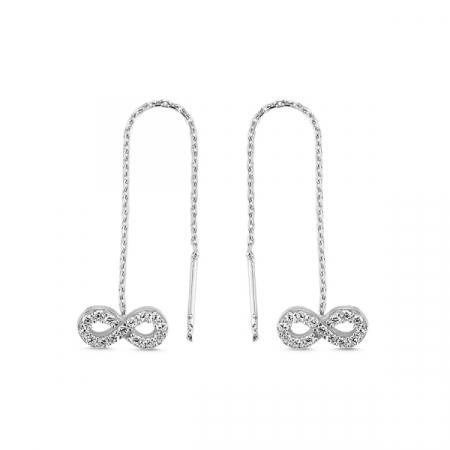 Cercei lungi din argint placat cu rodiu, cu simbolul infinit si zirconii albe  - ETU0104