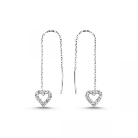 Cercei lungi din argint placat cu rodiu, inimioare si zirconii albe  - ETU0105