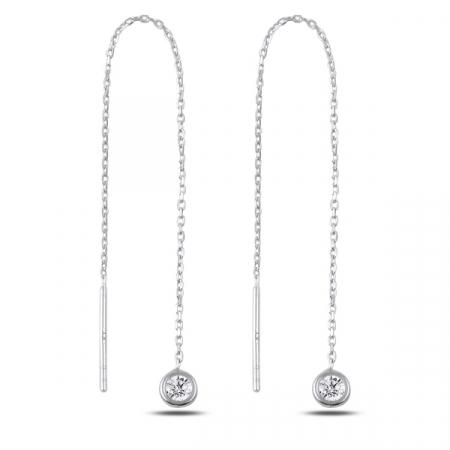 Cercei lungi din argint placat cu rodiu si zirconii albe  - ETU0178