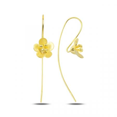 Cercei lungi floare din argint placati cu aur - ETU0200