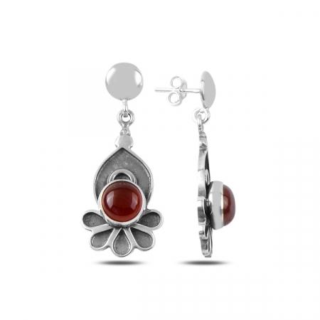 Cercei lungi handmade din argint cu agat rosu - ETU0163