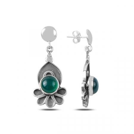Cercei lungi handmade din argint cu agat verde - ETU0162
