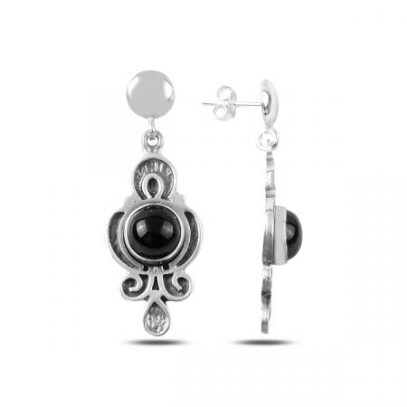 Cercei lungi handmade din argint cu onix  - ETU0176