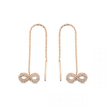 Cercei lungi Infinity din argint 925 cu zirconii placati cu aur roz