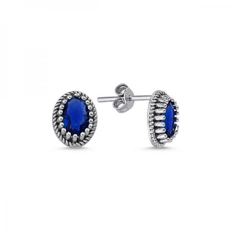 Cercei ovali argint 925 cu zirconii albastre - Be Elegant ETU0093