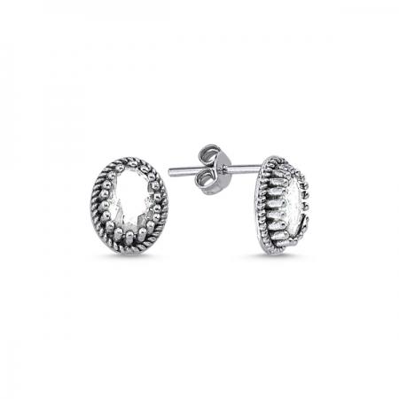 Cercei ovali argint 925 cu zirconii - Be Elegant ETU0090
