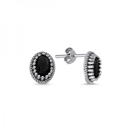 Cercei ovali argint 925 cu zirconii negre - Be Elegant ETU0089