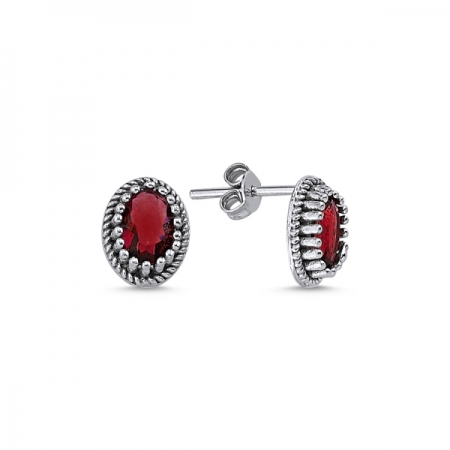 Cercei ovali argint 925 cu zirconii rosii - Be Elegant ETU0091