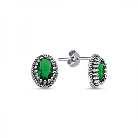 Cercei ovali argint 925 cu zirconii verzi - Be Elegant ETU0092